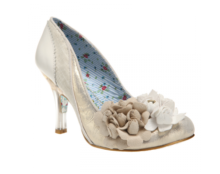 Irregular Choice White, Silver, Grey Wedding Shoe