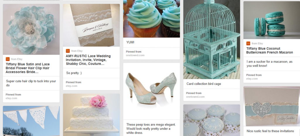 Wedding Moodboard Duck Egg Blue and Lace