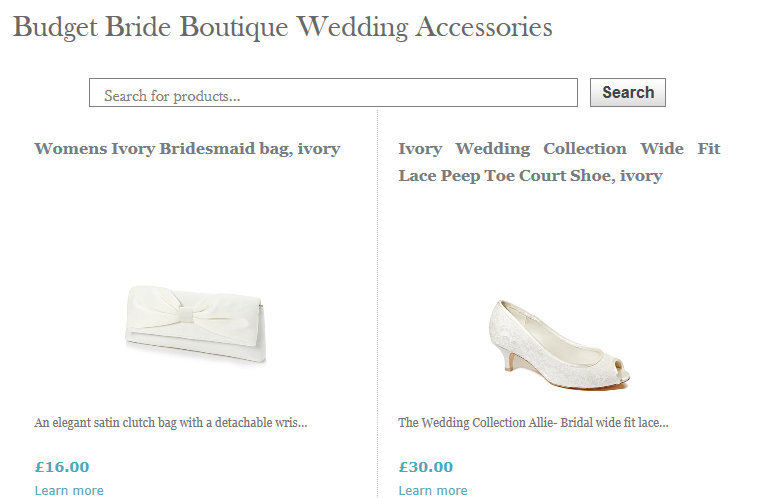 Budget Bride Boutique Accessories
