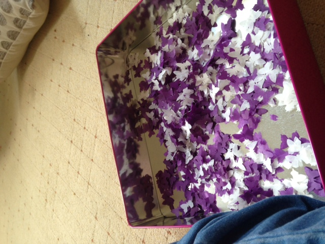 Purple and white handmade wedding confetti