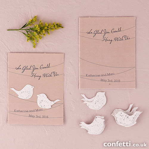 Seed paper personalised wedding favour cards under £1.50
