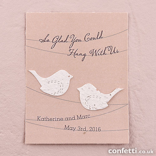 Personalised seed favour cards - cheap wedding favour ideas under £1.50