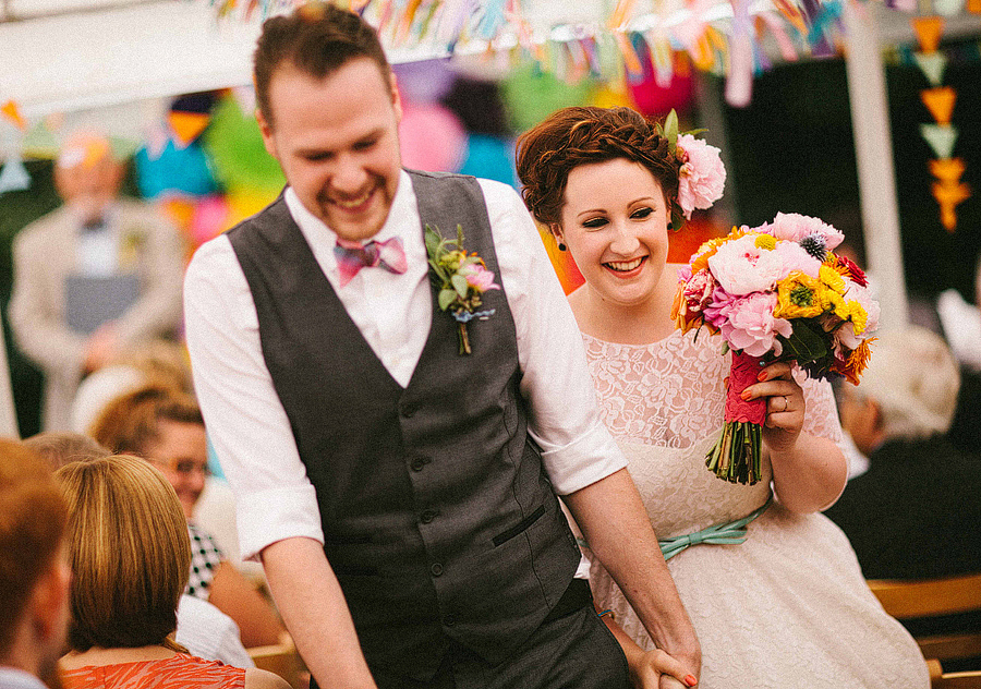 Real life colourful budget wedding - Abby and Liam